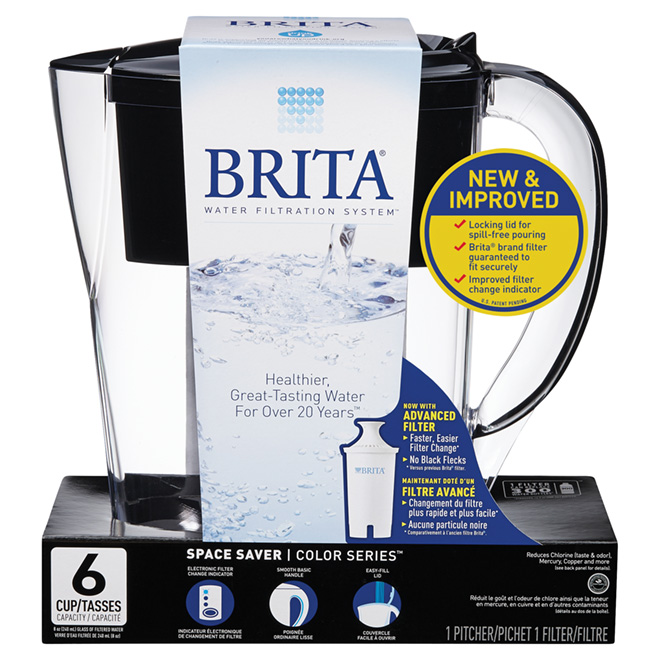 Water Pitcher with Filter - 6 Cups - Black/Clear