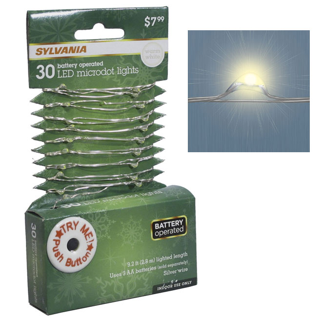 Battery-Operated Micro-Dot Light String Set - 30 LED - 9.2'
