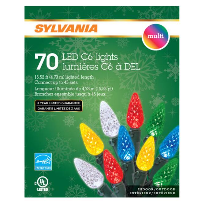 Jeu de 70 lumières, intérieur/extérieur, DEL C6, multicolore