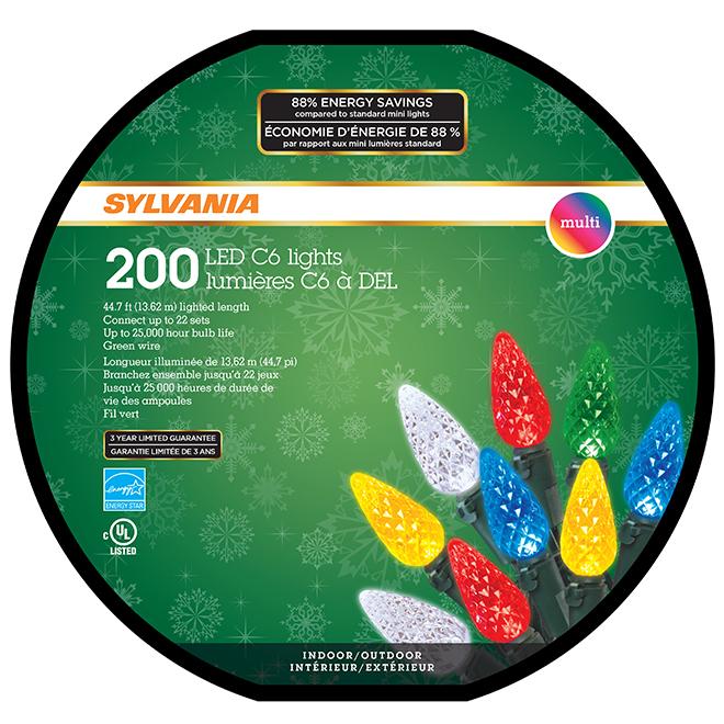 Jeu de 200 lumières, intérieur/extérieur, DEL C6, multicolore