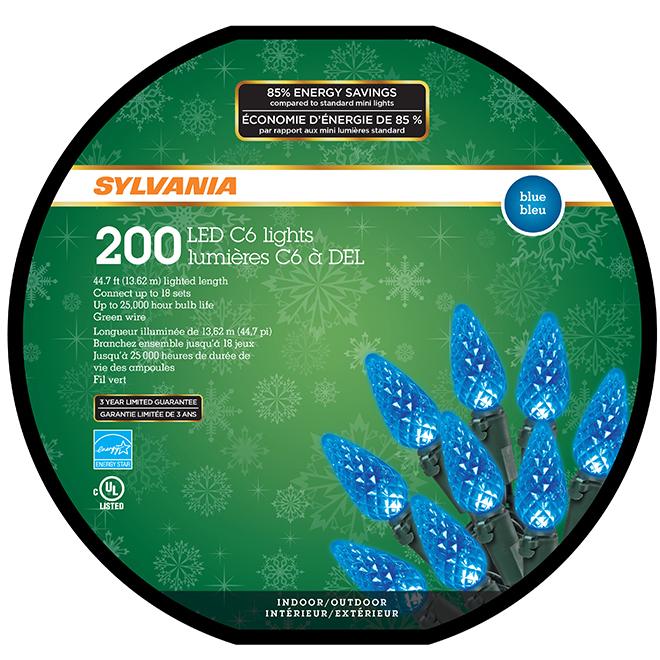 Jeu de 200 lumières, intérieur/extérieur, DEL C6, bleu