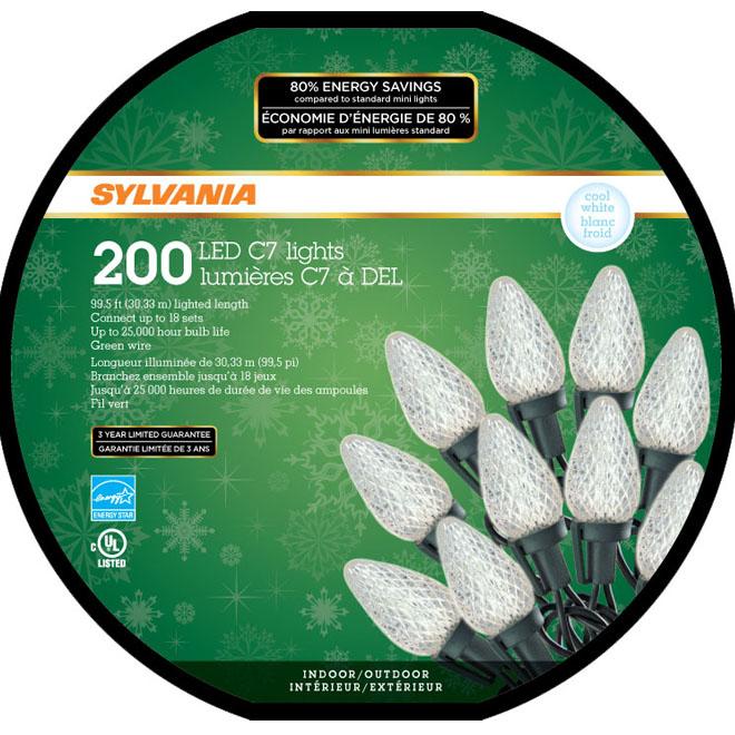 Set of 200 Lights - Interior/Exterior - LED C7 - Cool White