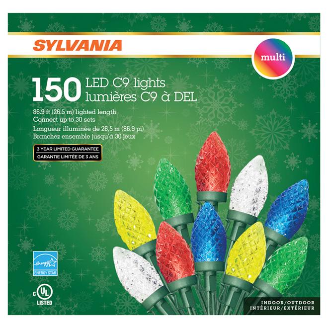 Jeu de 150 lumières, intérieur/extérieur, DEL C9, multicolore
