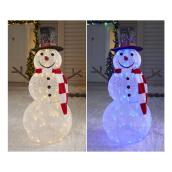 "Illuminated Snowman - LED - 42"" - Warm White and Blue"