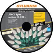 Sylvania Christmas String Lights - 200-Count LED C6 - Indoor Outdoor - Warm White