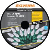 Sylvania Christmas String Lights - 200 LED C6 - Indoor Outdoor - Pure White