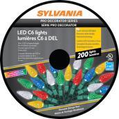 Lumière de Noël Sylvania, 200 lumières DEL C6 , intérieur extérieur, multicolore