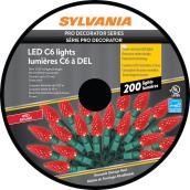 Lumière de Noël Sylvania, 200 lumières DEL C6, intérieur et extérieur, rouge
