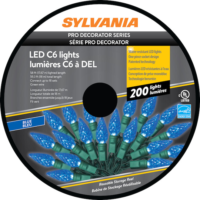 Sylvania Christmas String Lights - 200-Count LED C6 - Indoor Outdoor - Blue