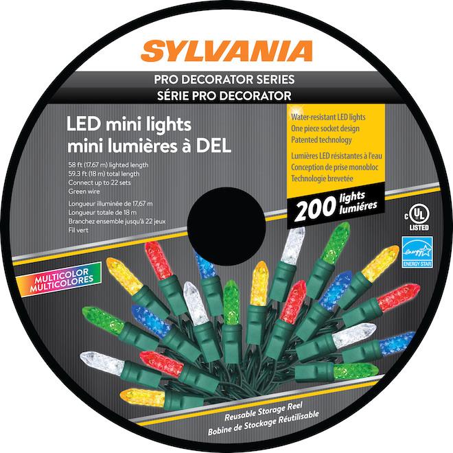 Lumière de Noël Sylvania, 200 lumières DEL C6, intérieur extérieur, multicolore