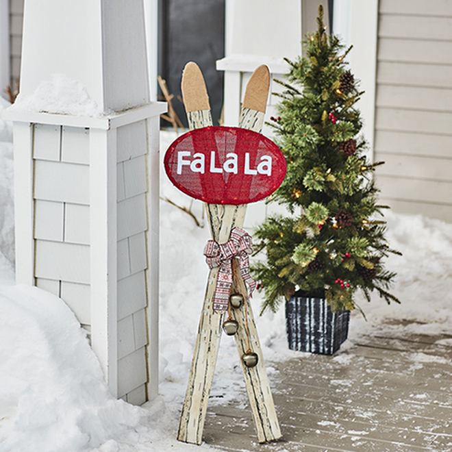 Sylvania Crossed Skis with Lighted Fa La La Sign - 48-in - Metal/Plastic - Brown and Red