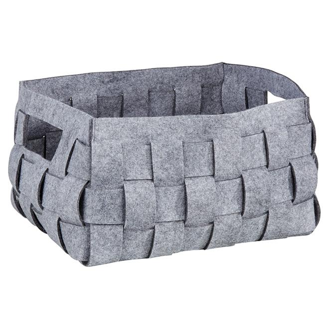 Grand panier de rangement en feutre tissé, 47 l, gris