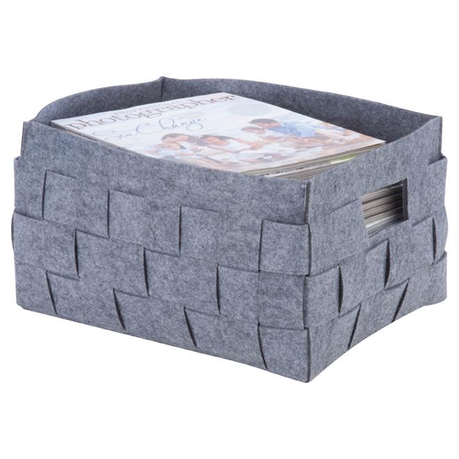 Small Storage Bin - Woven Felt - 20.6 L - Grey
