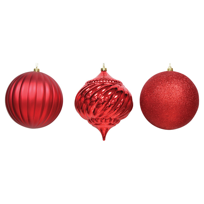 Assorted Ball Ornament - Red - 3-Piece Set