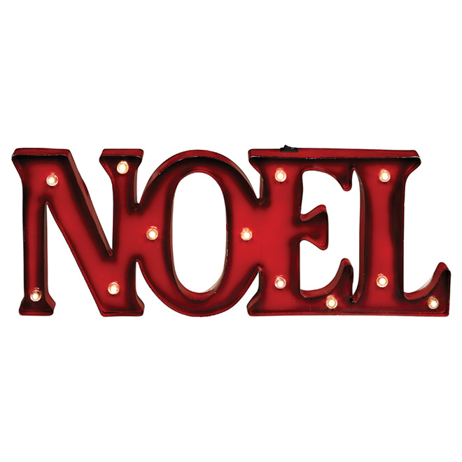 """Battery-Operated Noel Wall Decoration - 12 LED - Red - 21"""""""