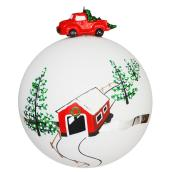 Tree Ornament - 10 cm - Glass - White/Green