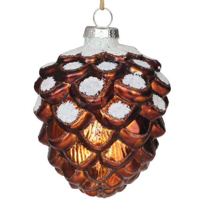 """Pine Cone Ornament - 6"""" - Glass - Brown"""
