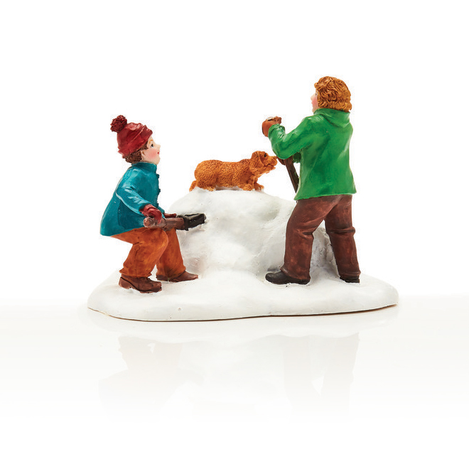 Kids with Dog - Resin - 7.5 cm x 5.5 cm x 6.8 cm