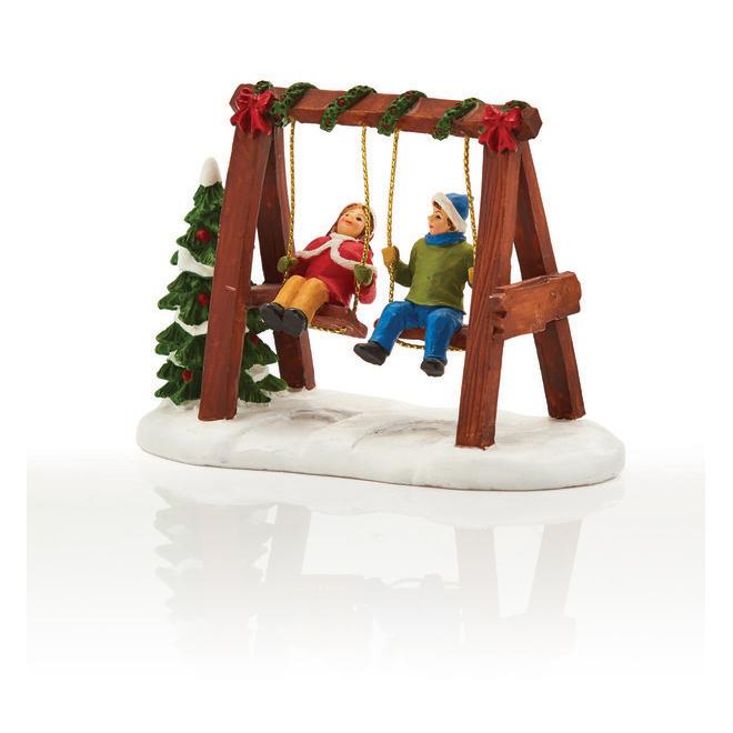 Kids on Swing Set - Resin - 10 cm x 5 cm x 4 cm