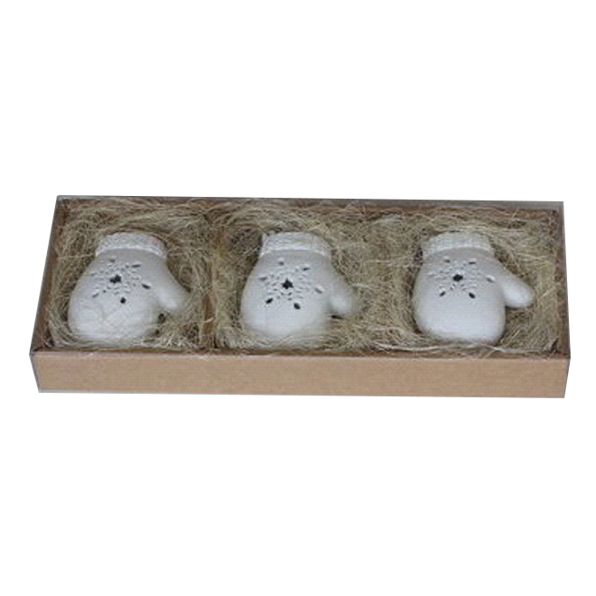 Christmas Ornament - Porcelain Mittens - White - 3/Pack