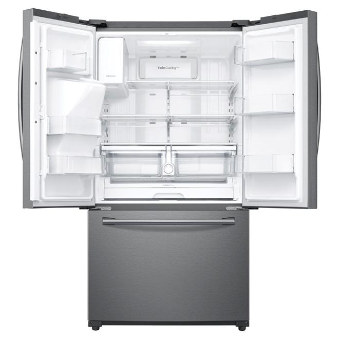 Réfrigérateur à portes françaises, écran tactile, 24 pi³, inox