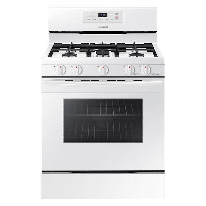 Cuisinière à gaz non encastrée, 5,8 pi³, blanche