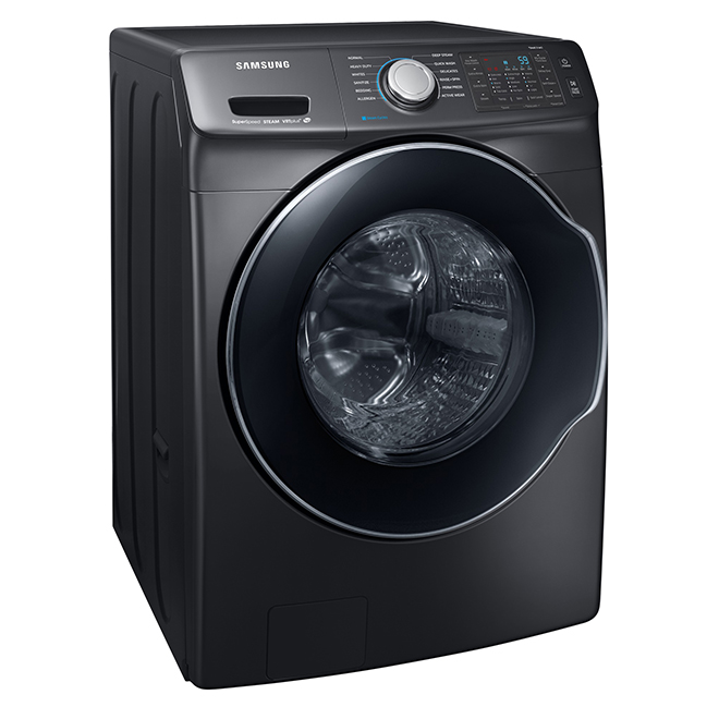 "Front-Load Washer 27"" - 5.2 cu. ft. - Black Stainless"