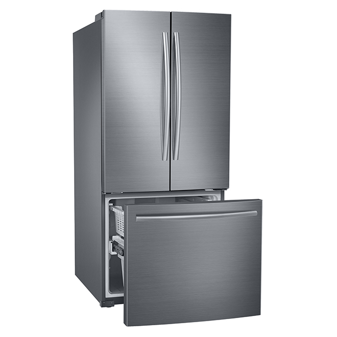 French Door Bottom Freezer Fridge 216 Cuft Stainless Steel