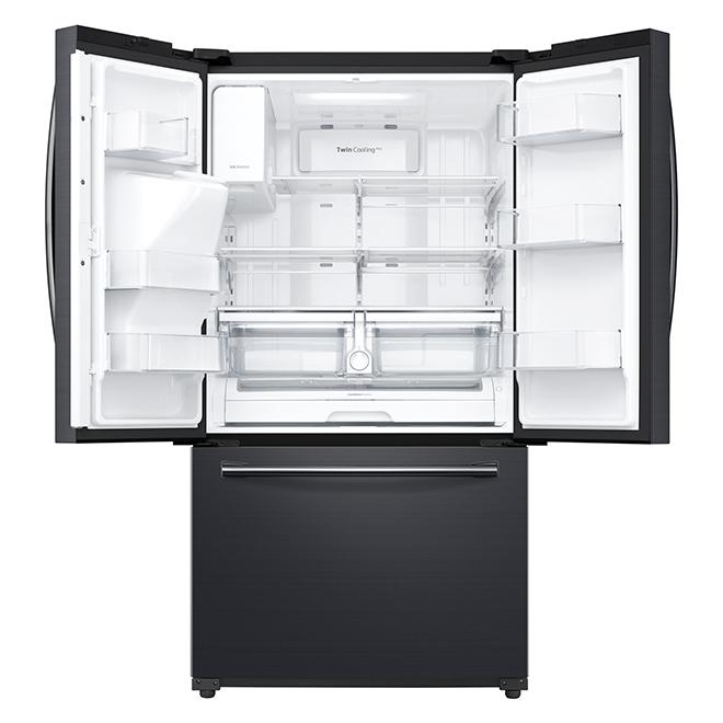 """Réfrigérateur à portes françaises, 36"""", 24,2 pi³, inox noir"""