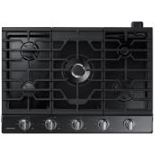 "Samsung - Gas Cooktop - 59,000 BTU - 5 Burners - 30"" - Black Stainless Steel"