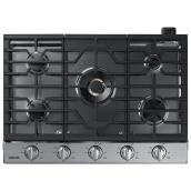 "Samsung - Gas Cooktop - 59,000 BTU - 5 Burners - 30"" - Stainless Steel"