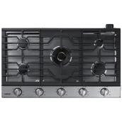 "Samsung - Gas Cooktop - 59,000 BTU - 5 Burners - 36"" - Stainless Steel"