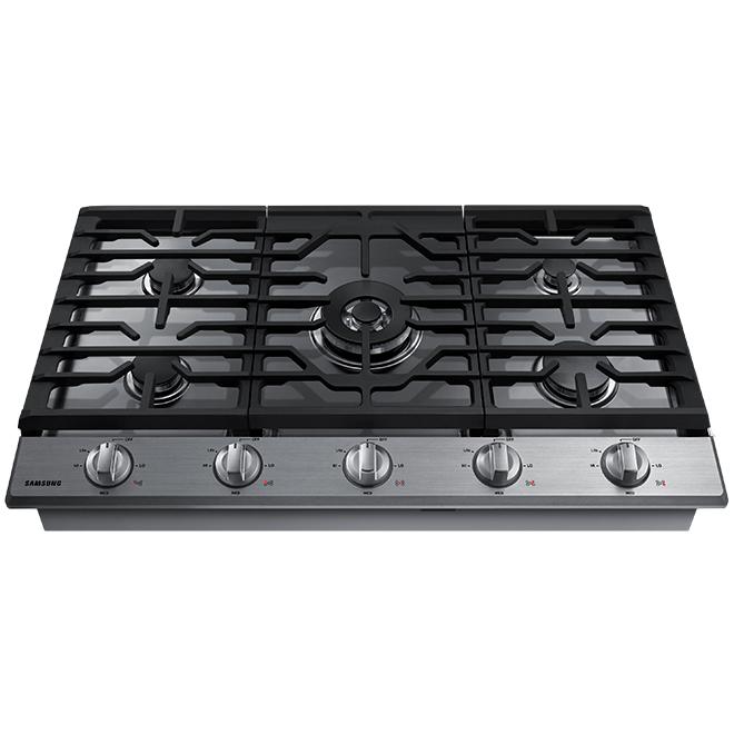 Table de cuisson au gaz, brûleur double 36'', inox