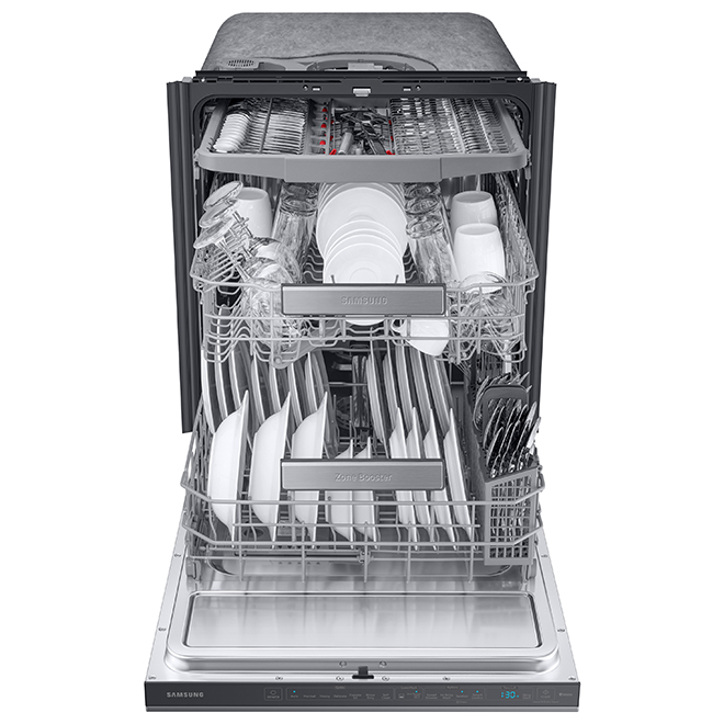 """Samsung Premium Built-In Dishwasher - 24"""" - Black SS"""