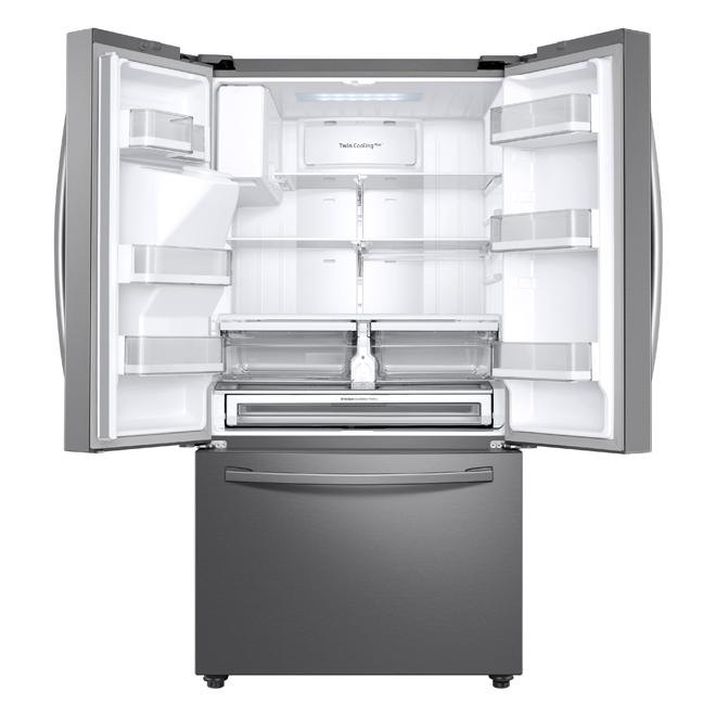 Réfrigérateur à portes françaises de Samsung, connexion Wi-Fi, 22,6 pi³, acier inoxydable