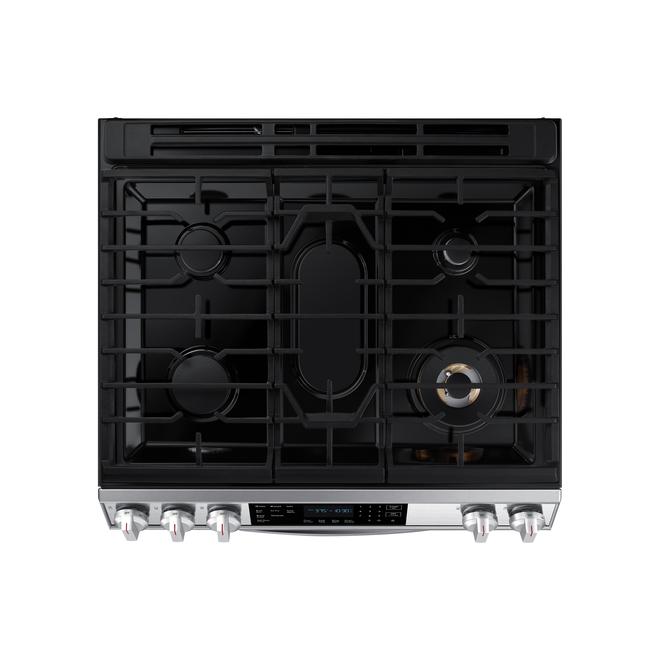 Cuisinière au gaz à convection Samsung, 30 po, friture à air, 6 pi3, acier inoxydable
