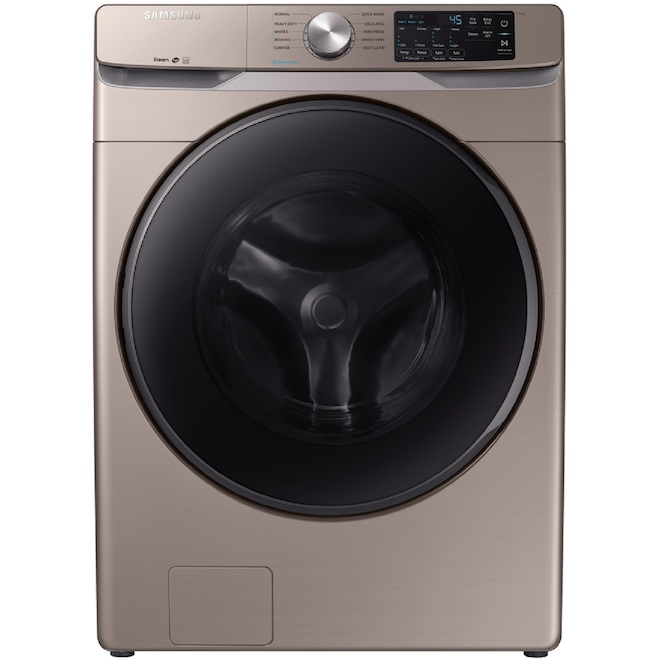 Laveuse à chargement frontal Samsung avec fonction vapeur, 27 po, 5,2 pi³, champagne