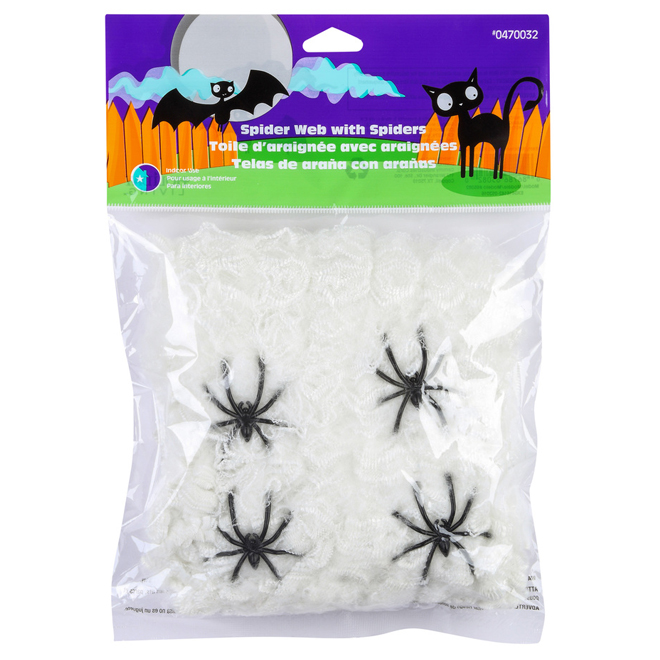 Spider Web with 4 Spiders - 2 oz