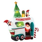 Outdoor Inflatable Santa with Penguins - Animated - 8' 9