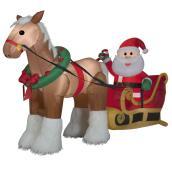 Père-Noël et cheval gonflable, 6,1', multicolore