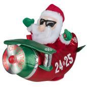 Père Noël en avion avec lumière DEL