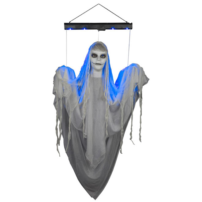 Animated Hanging Ghost Girl - LED - White and Blue