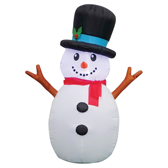 Inflatable Snowman Decoration - 4' - Polyester - Multicolour