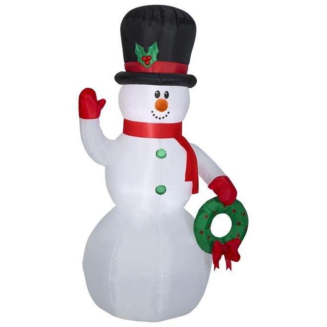 Inflatable Snowman Decoration- 6.9' - Polyester- Multicolour