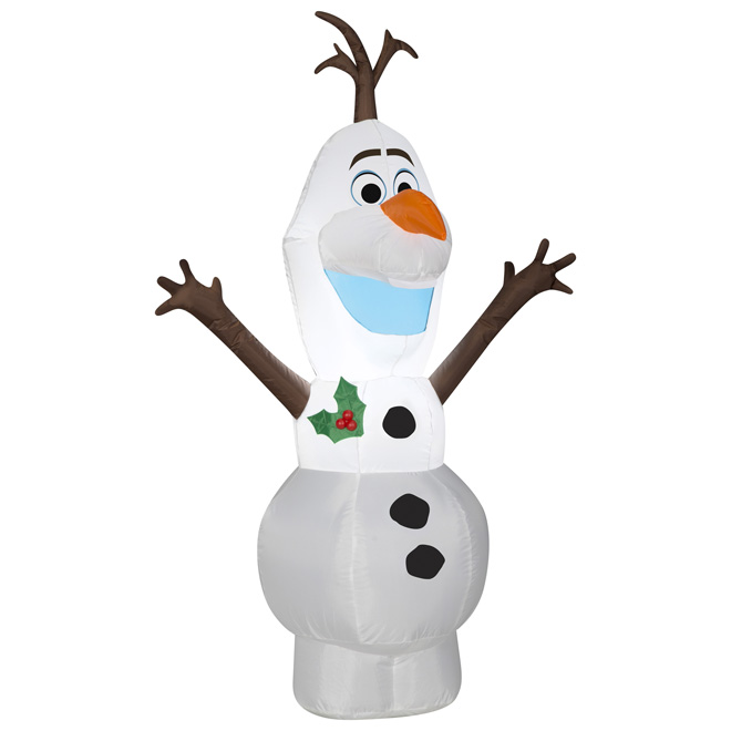 Décoration gonflable illuminée, Olaf, 4', polyester, multicolore