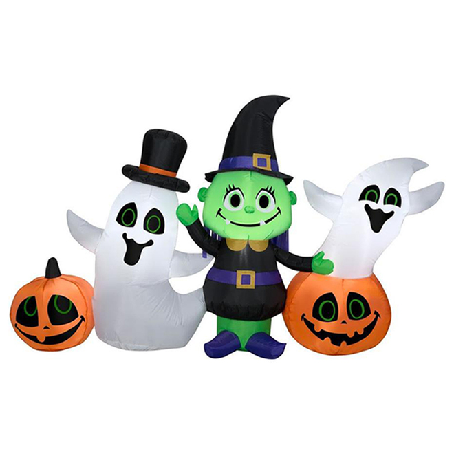 Inflatable Witch With Ghosts And Pumpkins Scene - Fabric - 7.87-in x 7.87-in x 9.84-in
