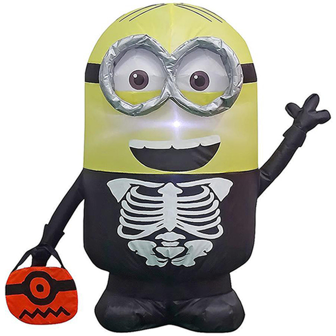 Inflatable Minion Dave As Skeleton - Polyester - 7.87-in x 5.11-in x 9.05-in