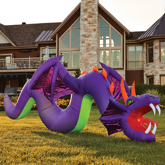 Gemmy - Inflatable Dragon  Polyester - 13.78-in x 13.78-in x 15,74-in, Multicolor