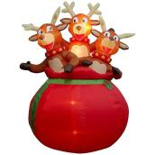 Gemmy Illuminated Airblown Inflatable Decoration - 3 Reindeer in Santa Bag - Multicolour