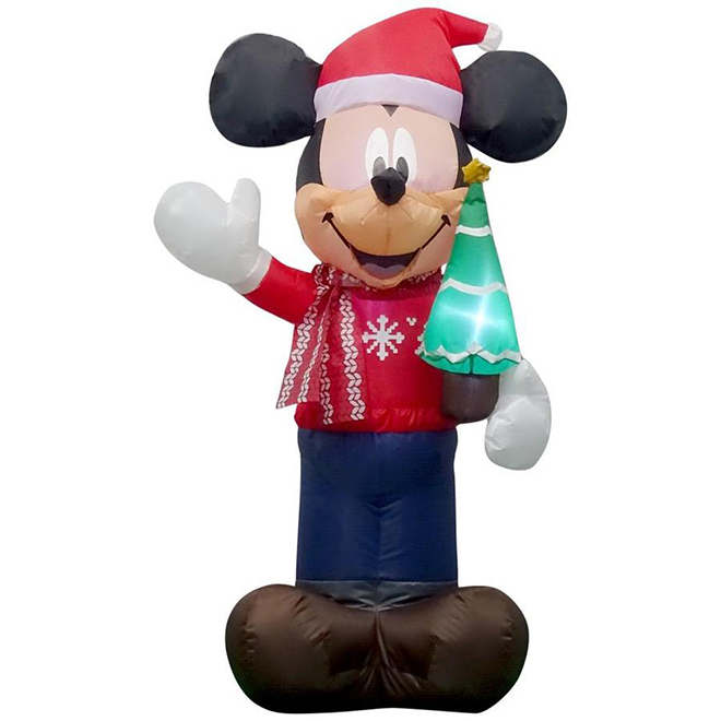 Disney Inflatable Airblown Decoration - Mickey Holding a Tree - 3.5-ft x 1.8-ft - 2 LED Lights - Multicolour